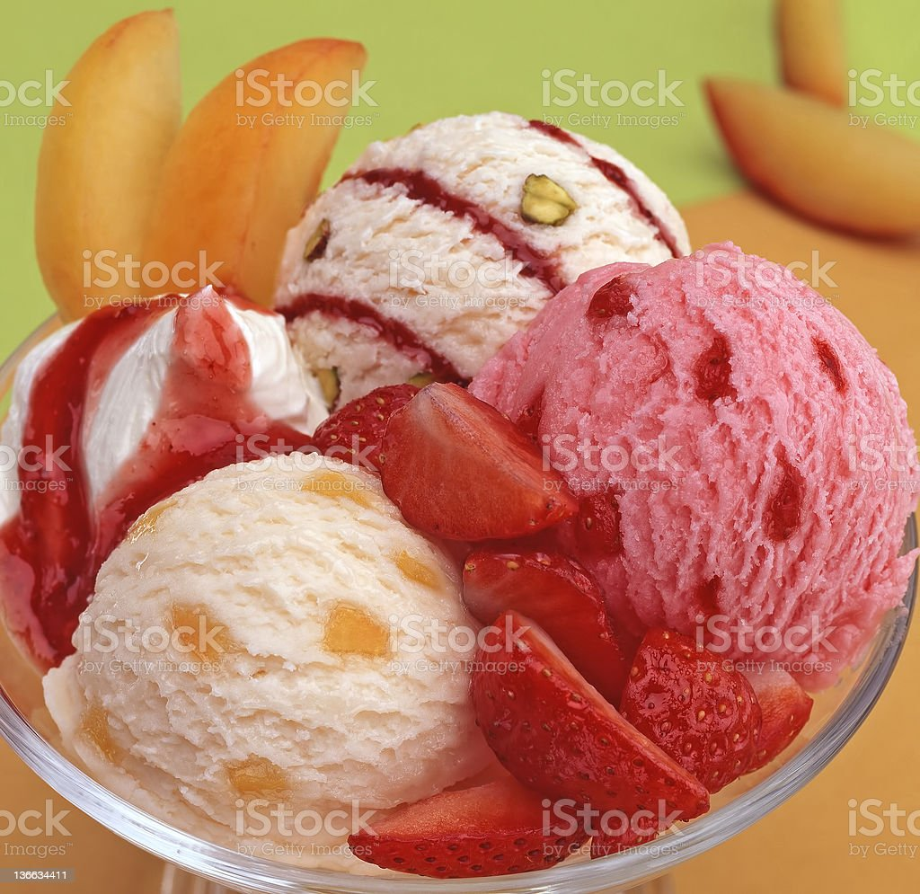 ice cream with fresh fruits royalty-free stock photo