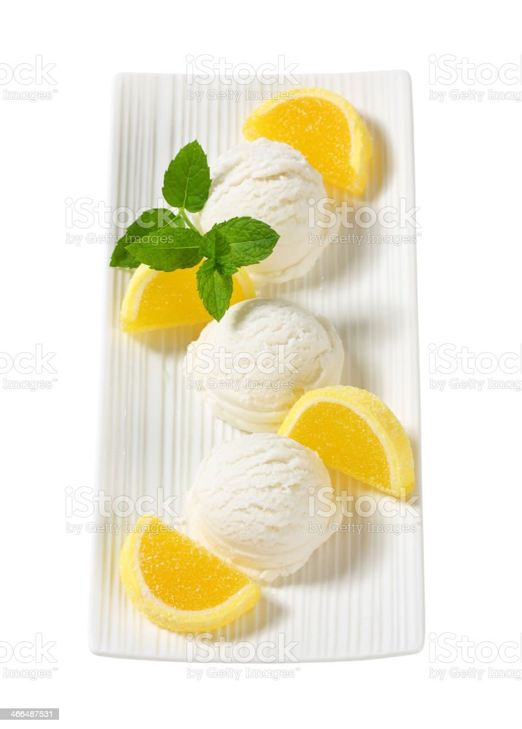 Ice cream with jelly candy stock photo