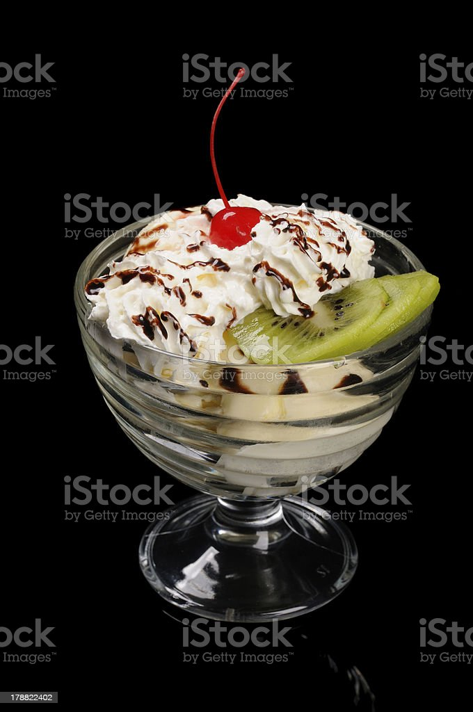 Ice cream with kiwi slices royalty-free stock photo