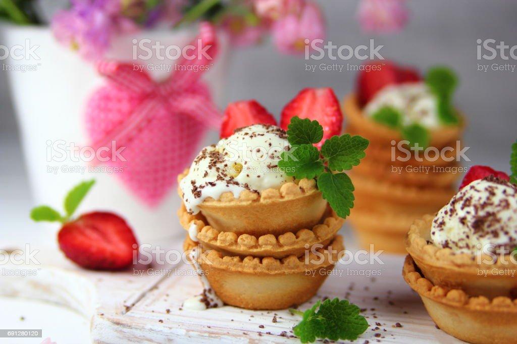 Ice cream with strawberries stock photo