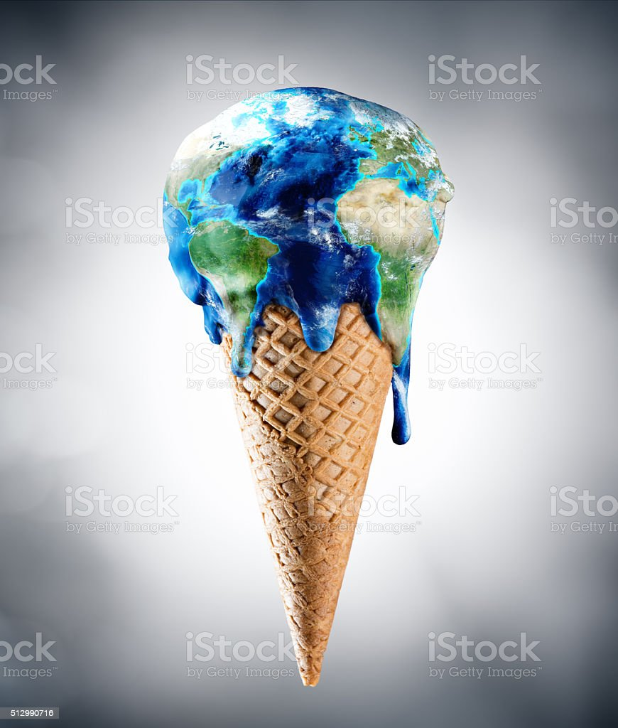 Ice Cream World - Climate Change Concept stock photo