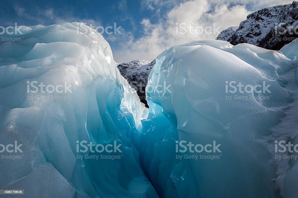 Ice crevice, Fox Glacier, New Zealand. stock photo
