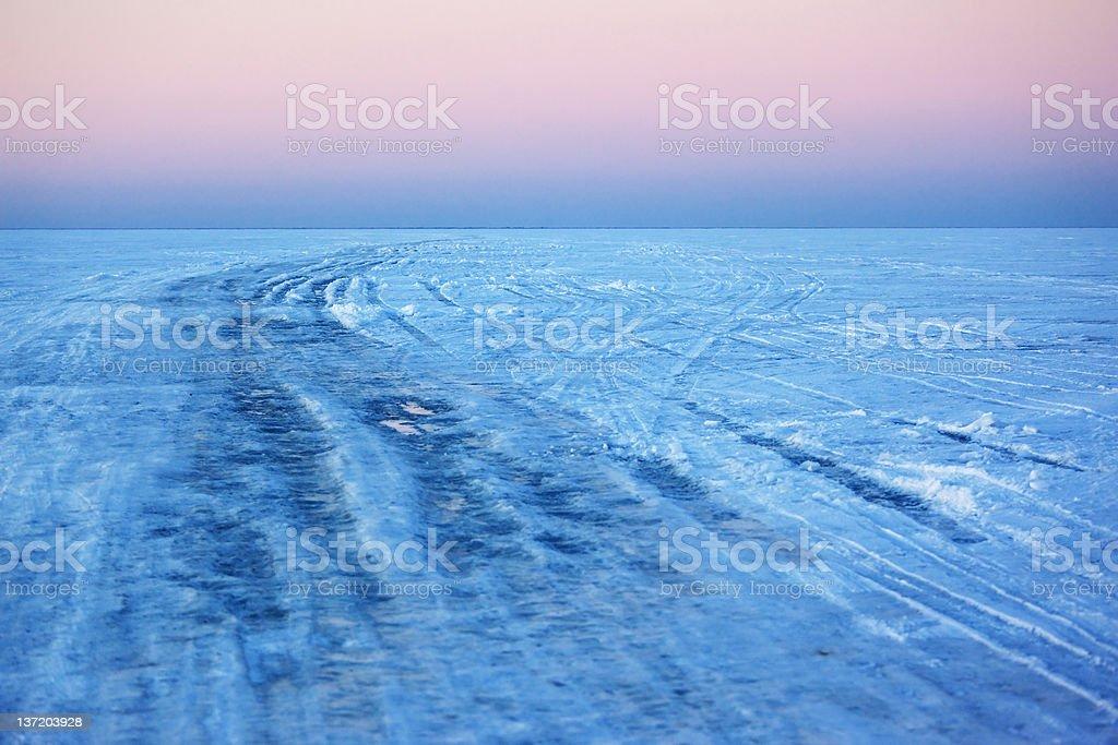 Ice crossing over Lake stock photo