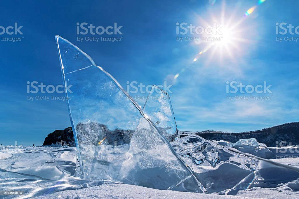 Ice crystals in the form of wings stock photo
