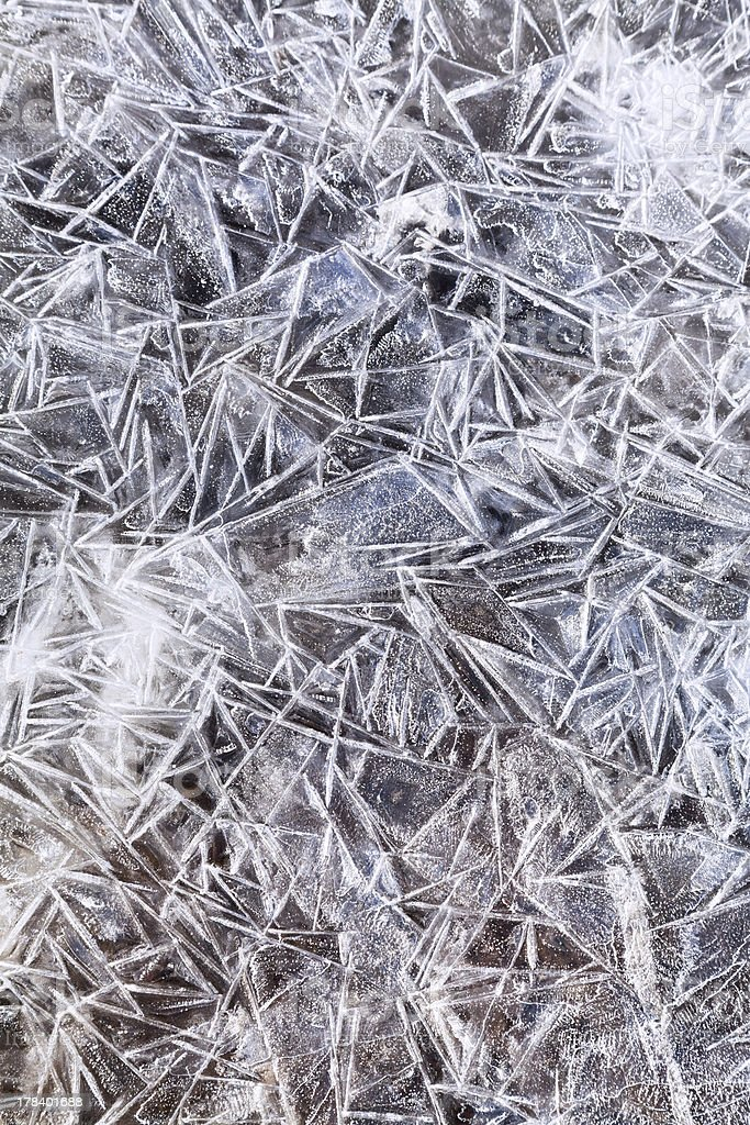 ice crystals under frozen puddle royalty-free stock photo