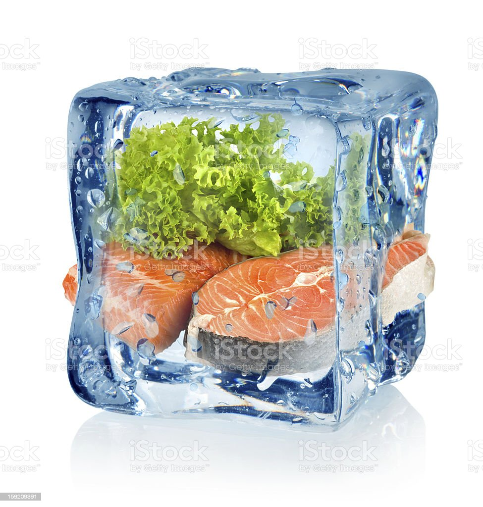 Ice cube and fish stock photo