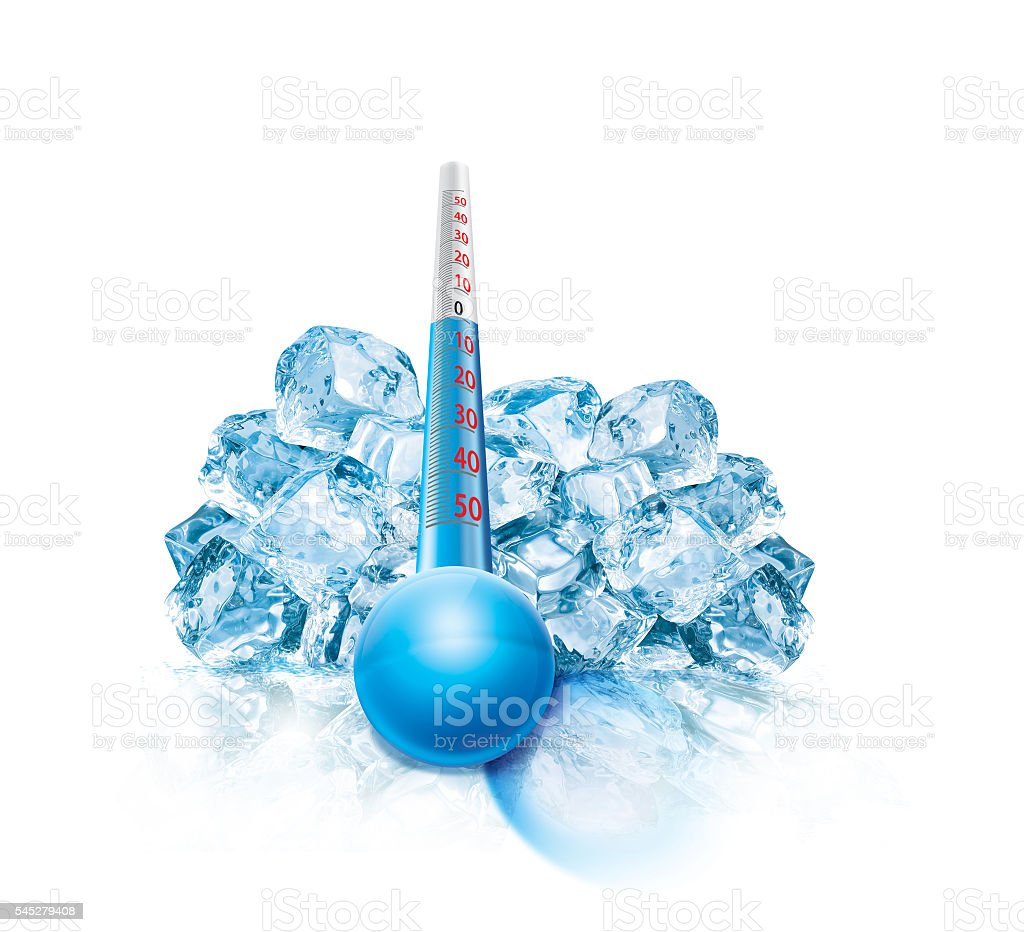 Ice Cube and thermometer Illustration stock photo