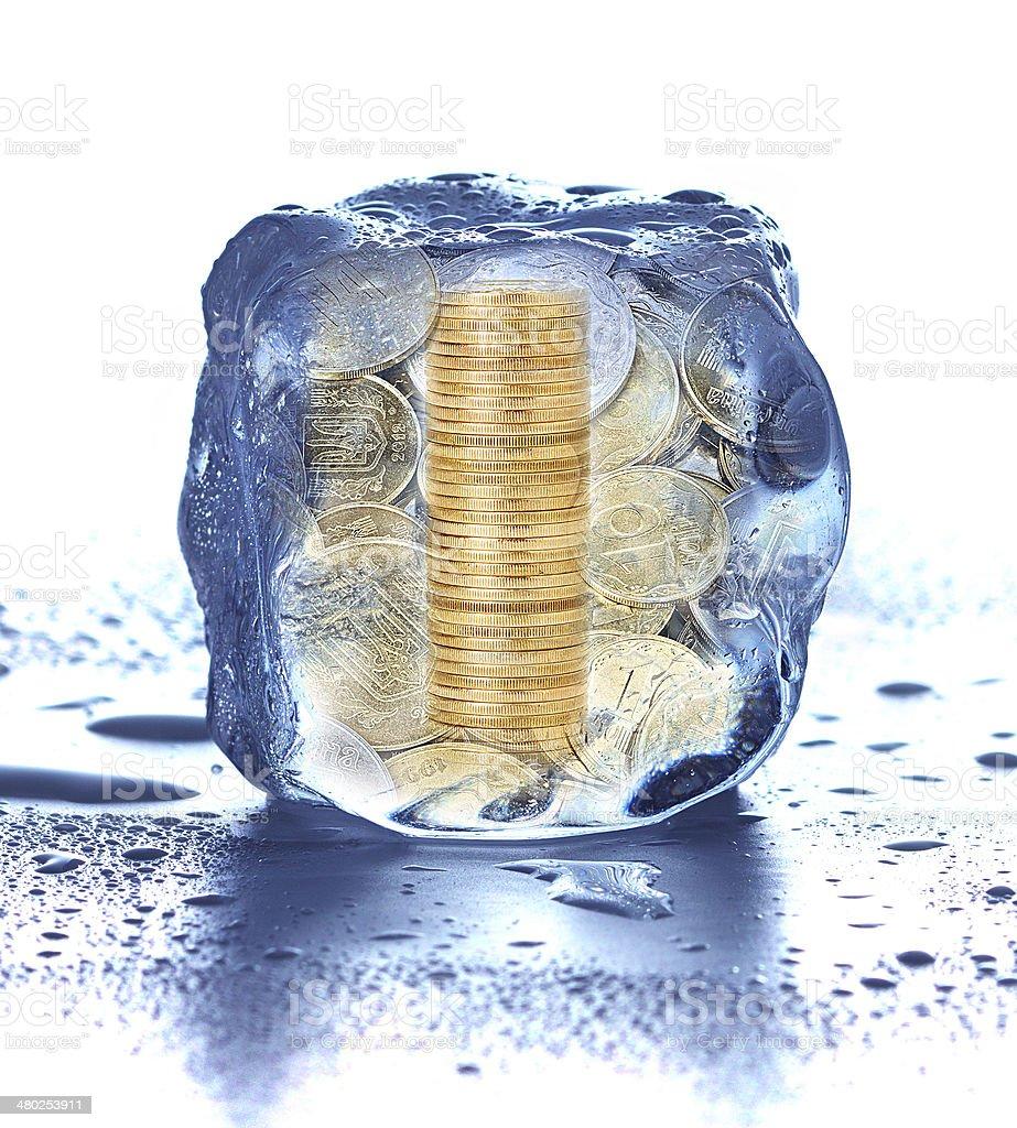 Ice cube isolated on white stock photo