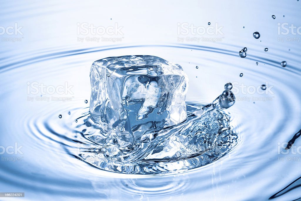 ice cube splashing into water royalty-free stock photo
