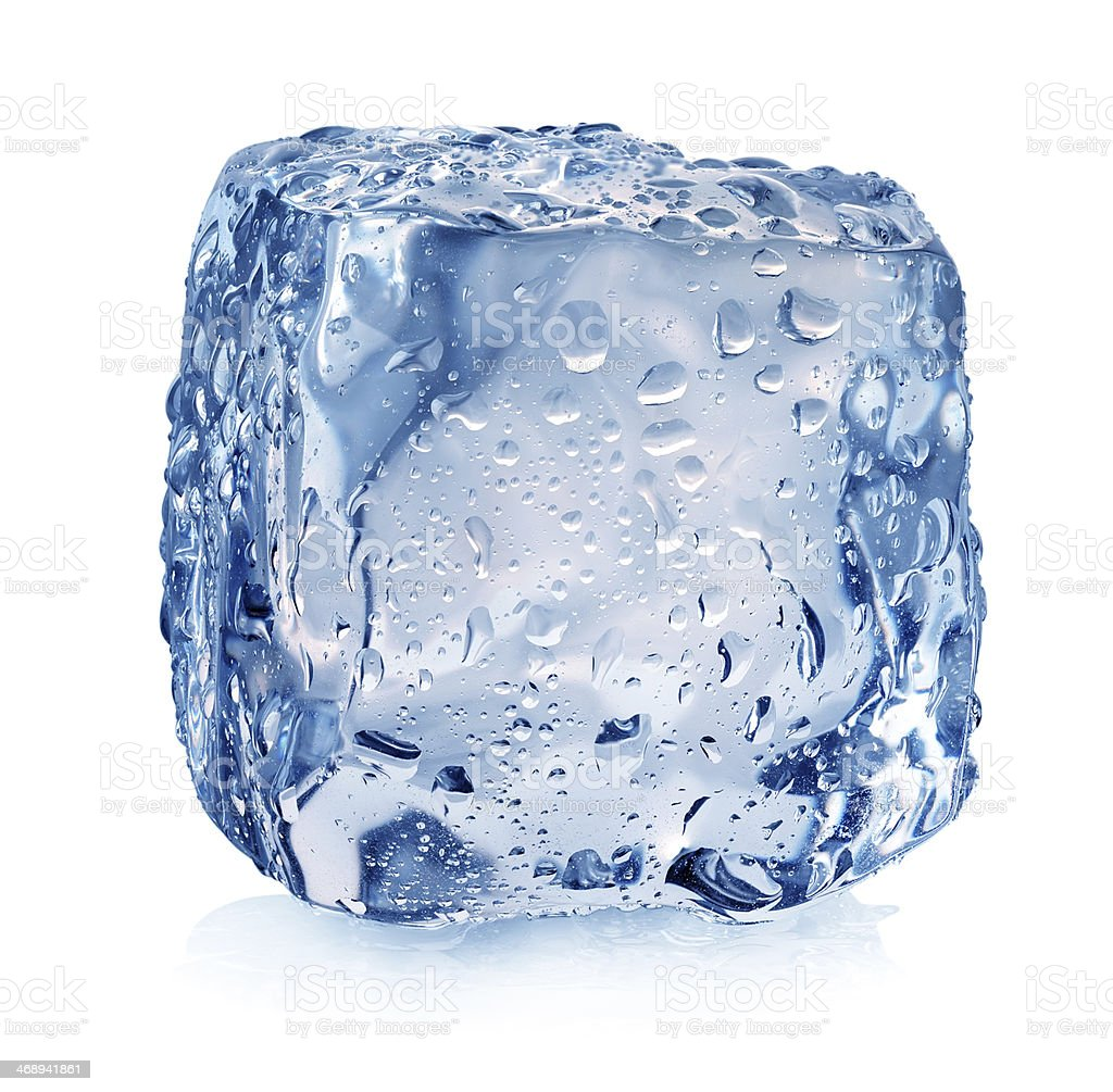 Ice cube with drops stock photo