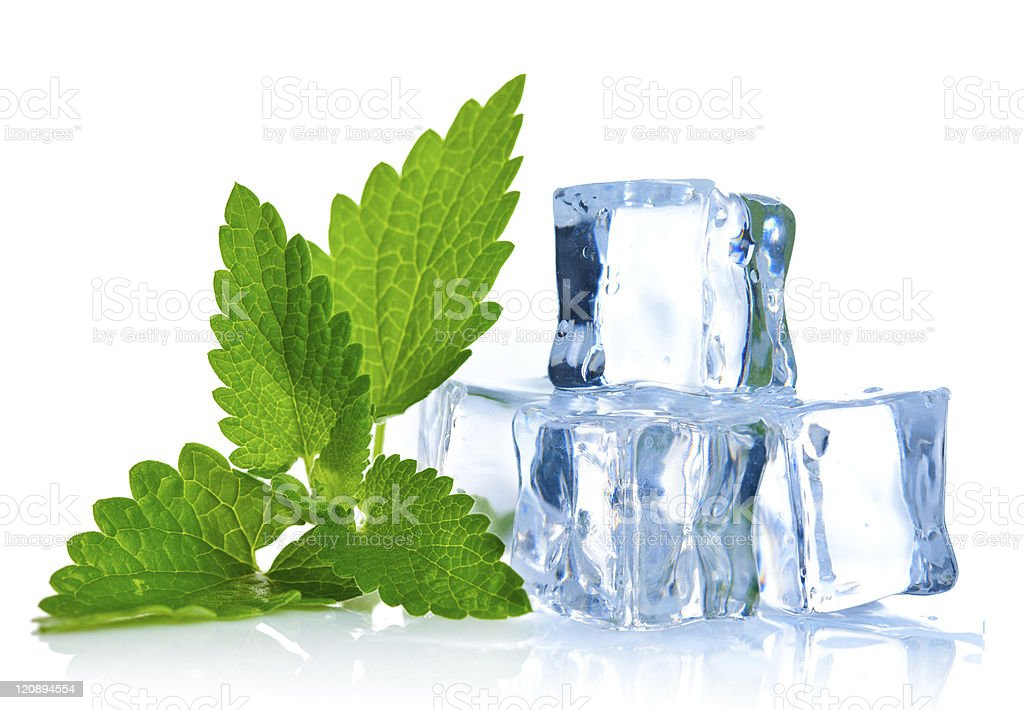 ice cube with leaf of melissa stock photo