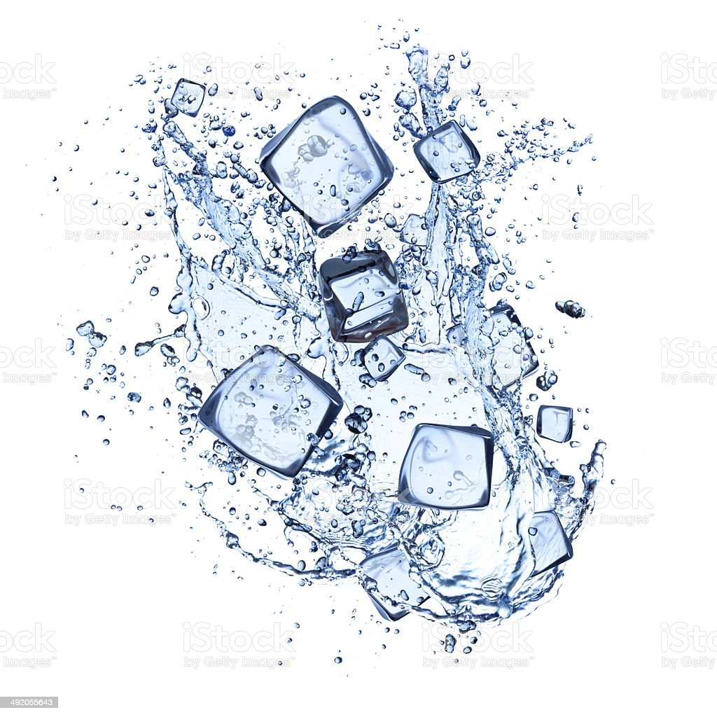 Ice cubes and water splashes on white background stock photo