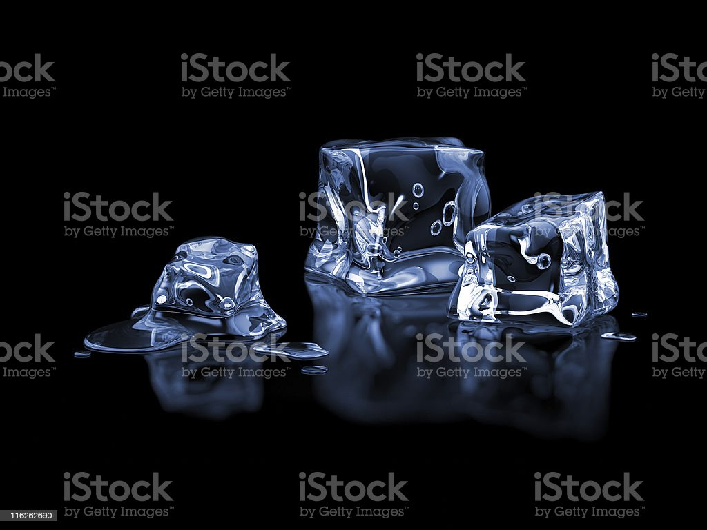 Ice cubes on a black background  stock photo