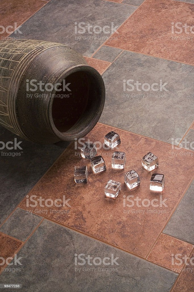 Ice cubes over ceramic tiles royalty-free stock photo
