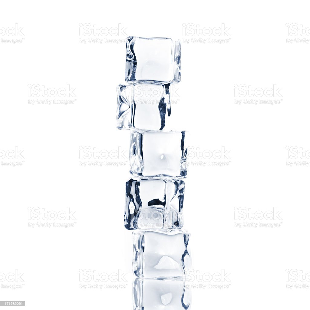 Ice cubes stacked on top of each other stock photo