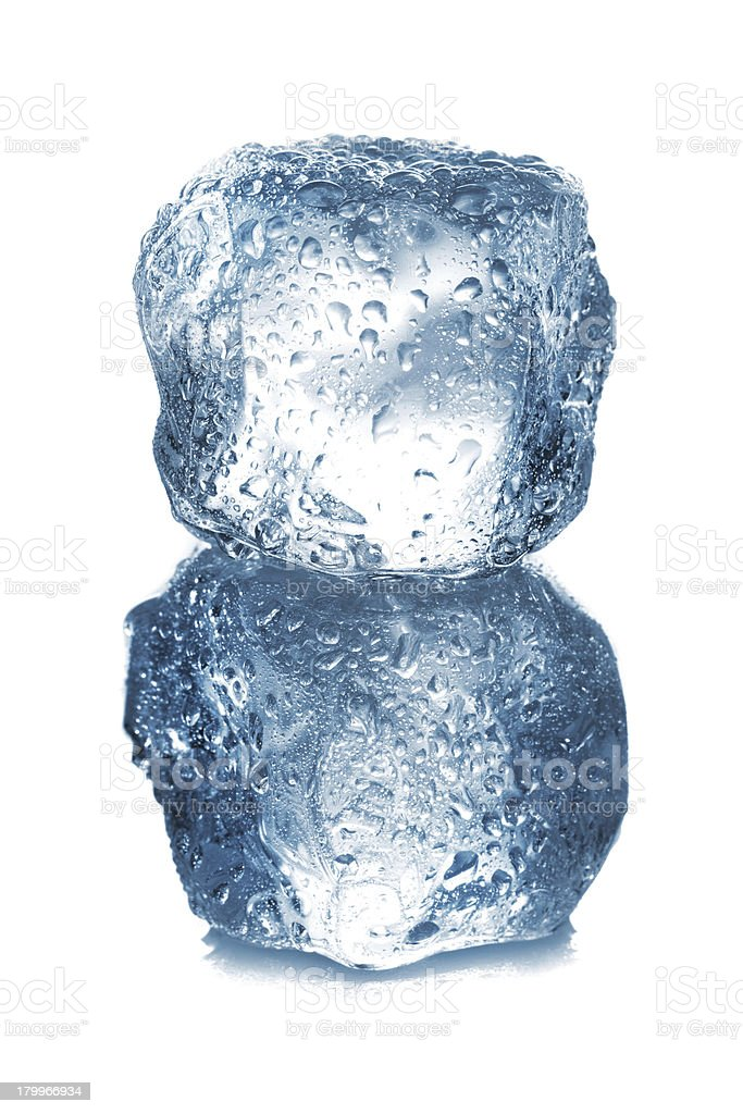 ice cubes with drops isolated on white background closeup royalty-free stock photo