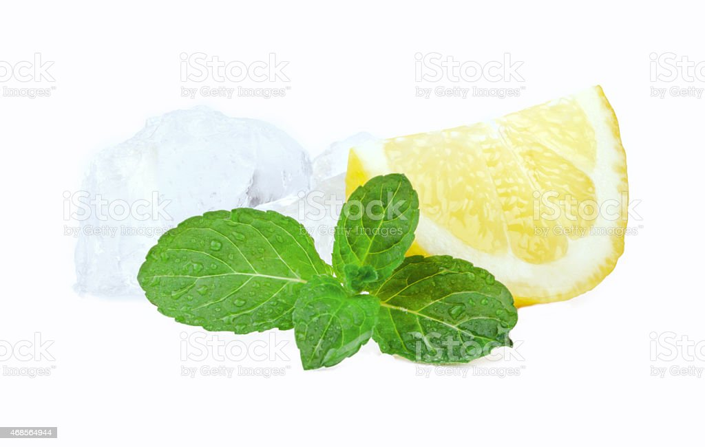 ice cubes with lemon and mint stock photo