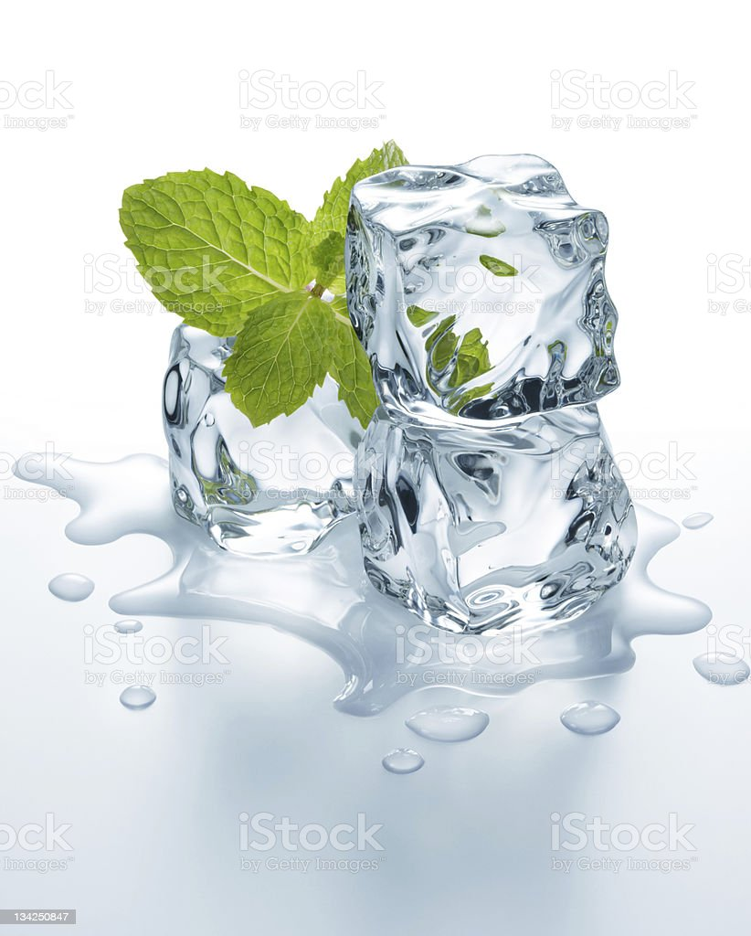 ice cubes with mint royalty-free stock photo