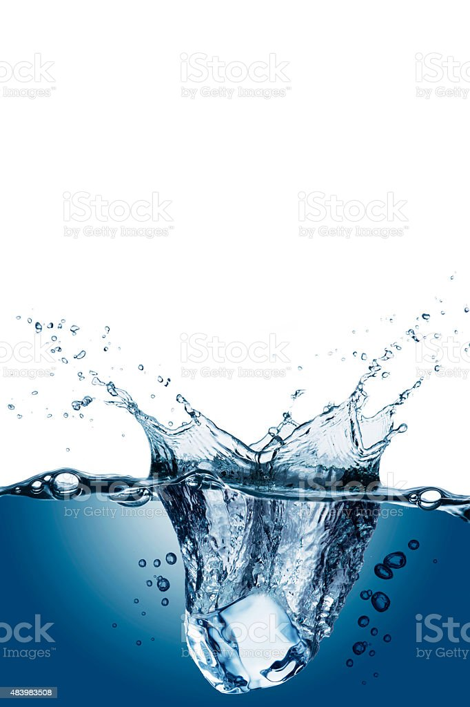 Ice Cubes With Water Splash stock photo