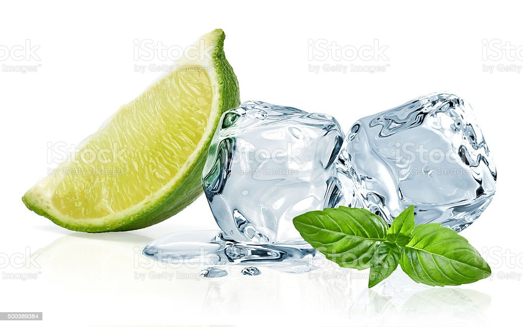 Ice cubes,lime wedge and basil leaves stock photo