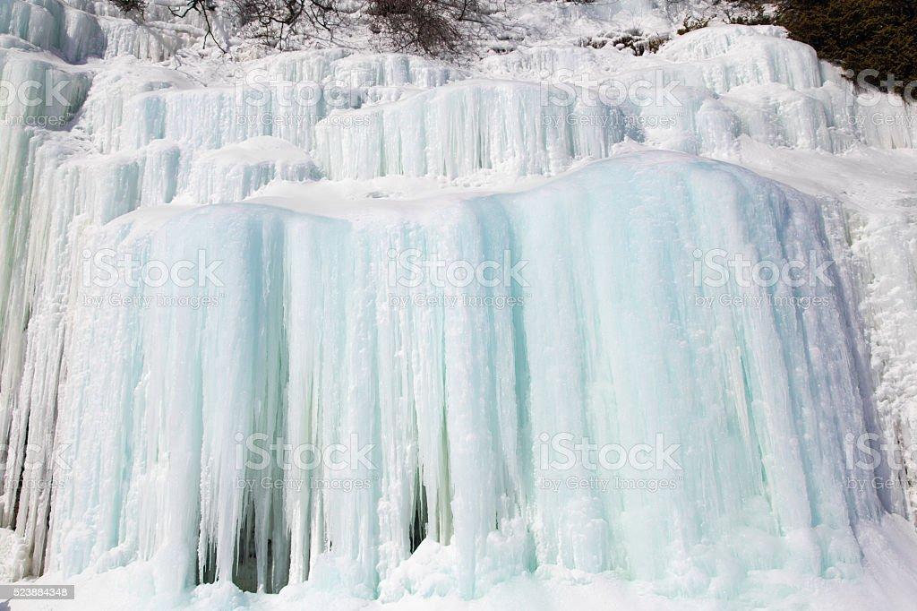 Ice Curtains on Lake Superior's Grand Island stock photo