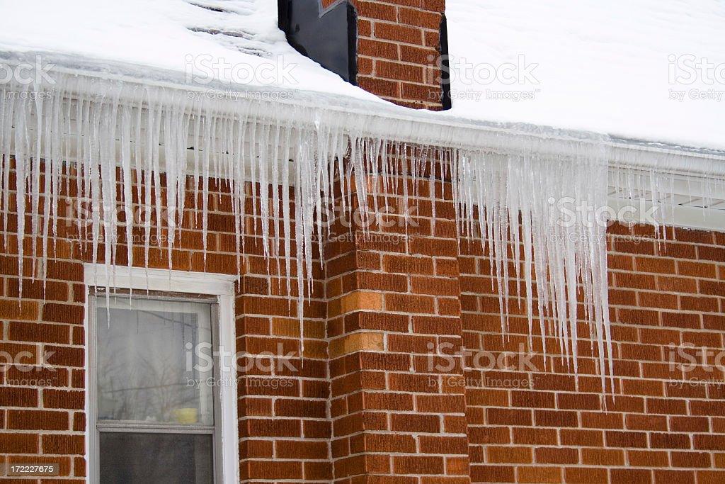 Ice damming stock photo