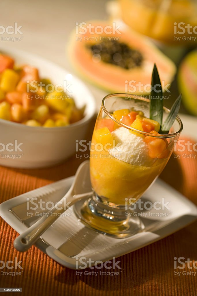 ice dessert with tropical fruit royalty-free stock photo