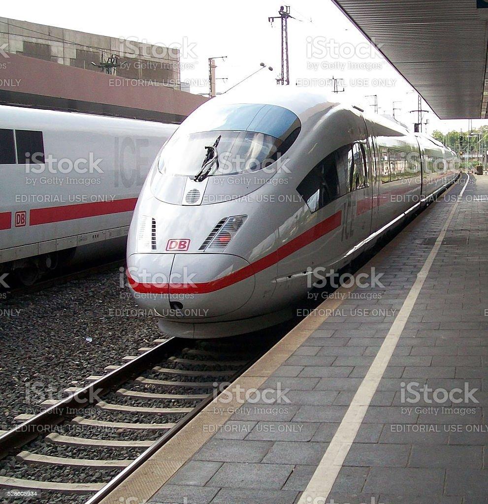 Ice Deutsche Bahn Train Parked At Train Station In Frankfurt.Germany stock photo