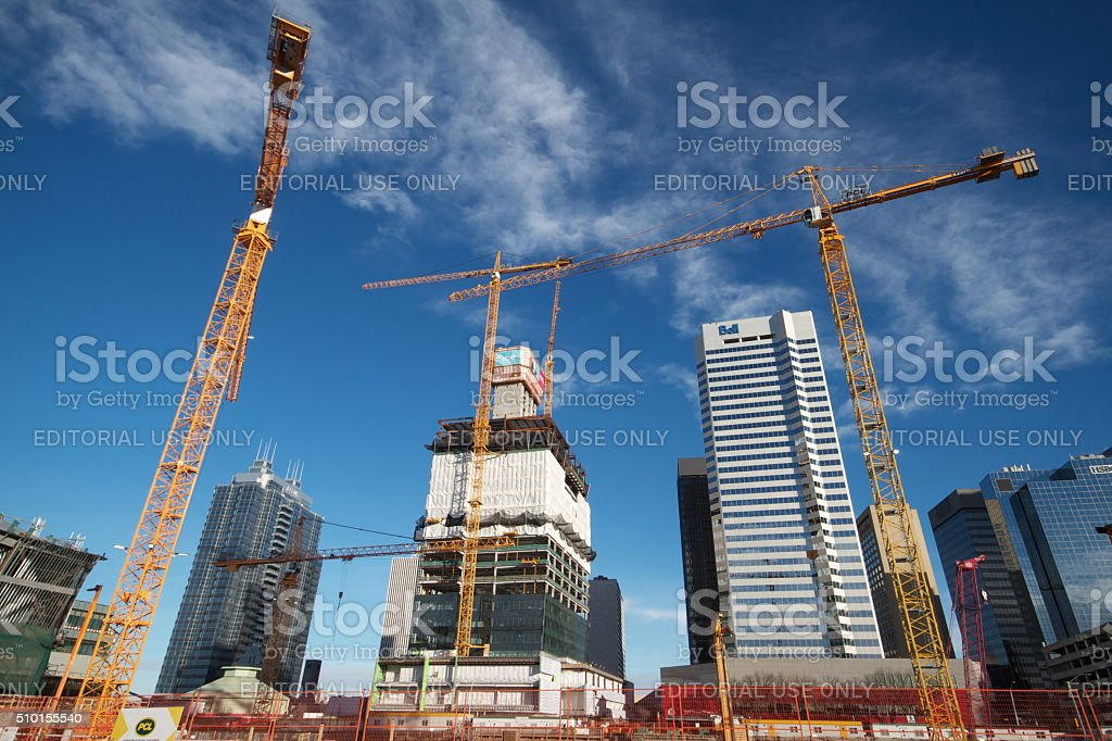 Ice District cranes stock photo
