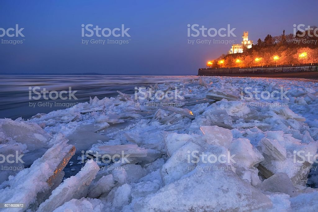 Ice drift on the Amur river stock photo