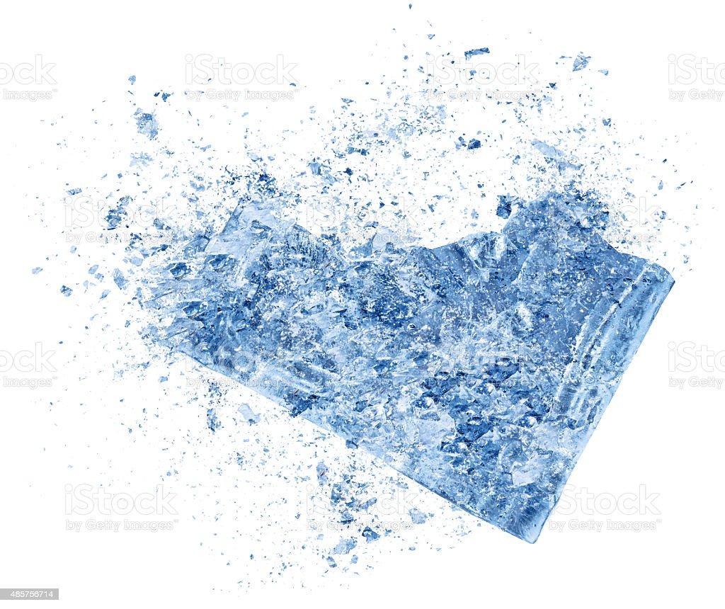 Ice explosion isolated for refreshing beverage on white background stock photo