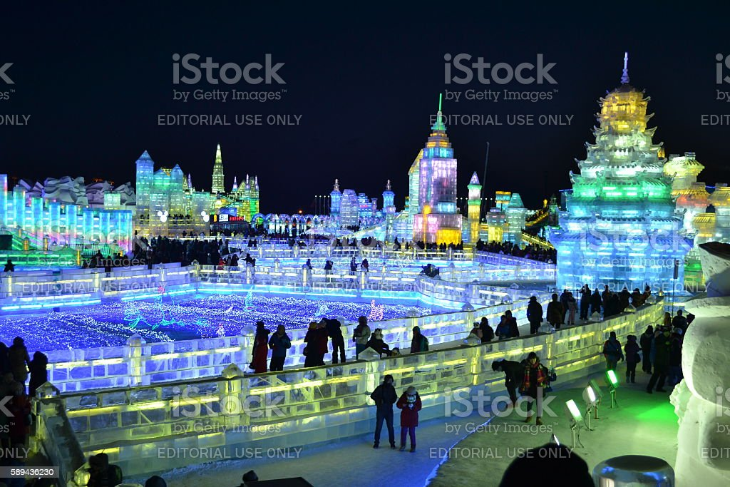 Ice Festival at night stock photo