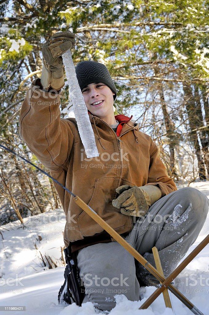 Ice Fisherman Scores royalty-free stock photo