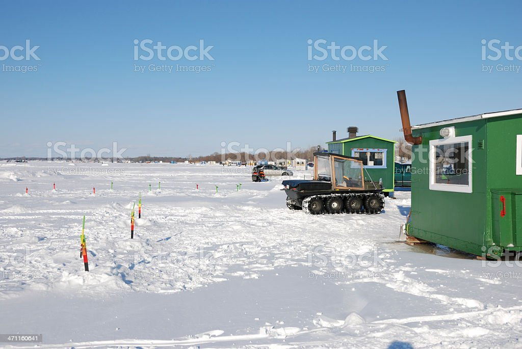 Ice fishing and winter hut. royalty-free stock photo