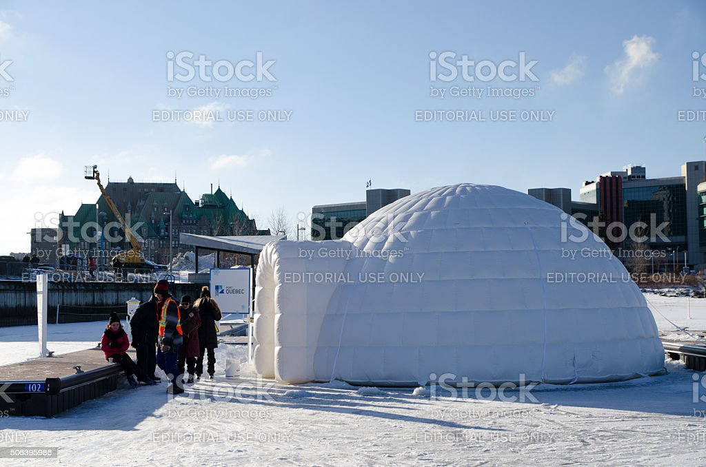 Ice fishing at Quebec Old Port stock photo