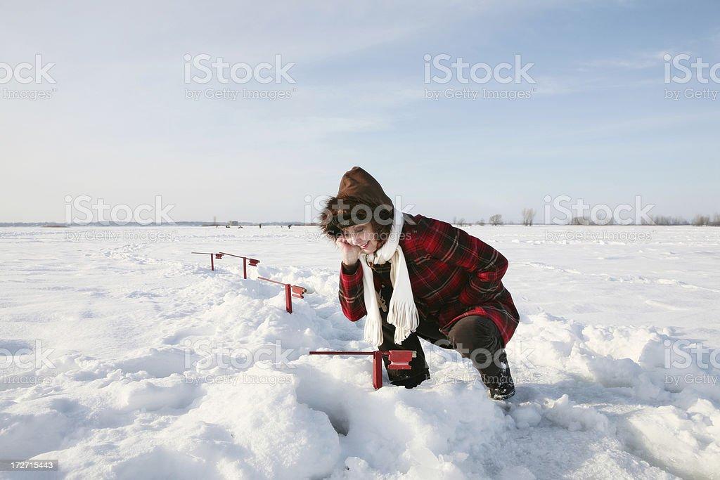 Ice fishing fun! stock photo