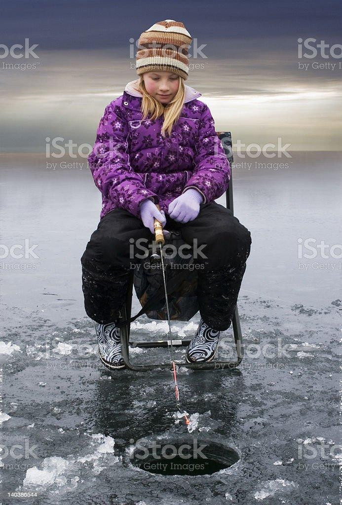 Ice Fishing Girl royalty-free stock photo