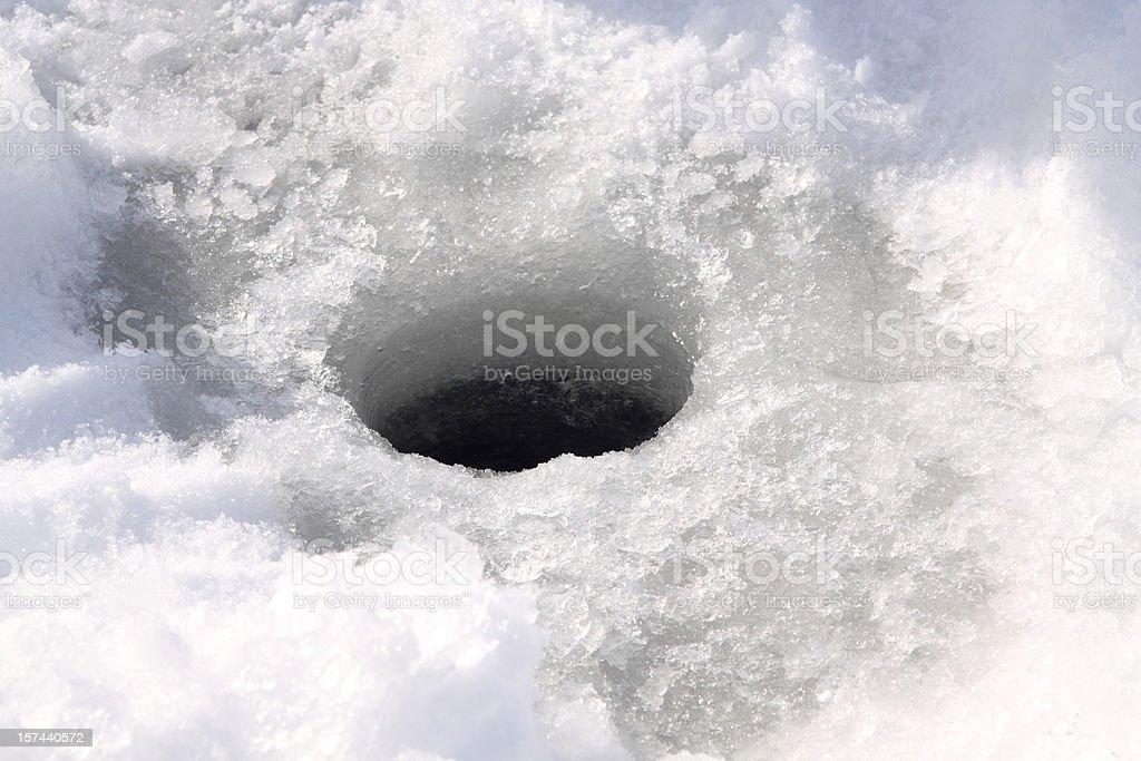 Ice Fishing Hole stock photo