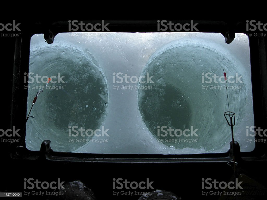 Ice Fishing Holes royalty-free stock photo