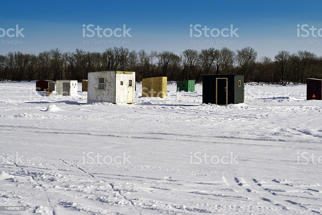 Ice Fishing Houses royalty-free stock photo