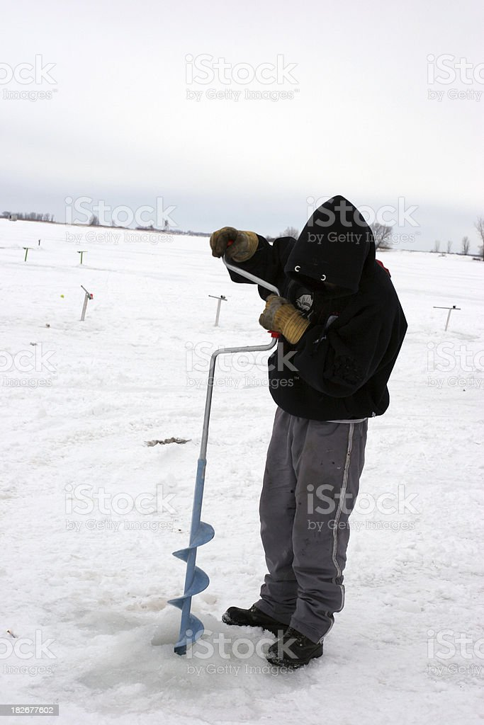 Ice fishing in Canada royalty-free stock photo