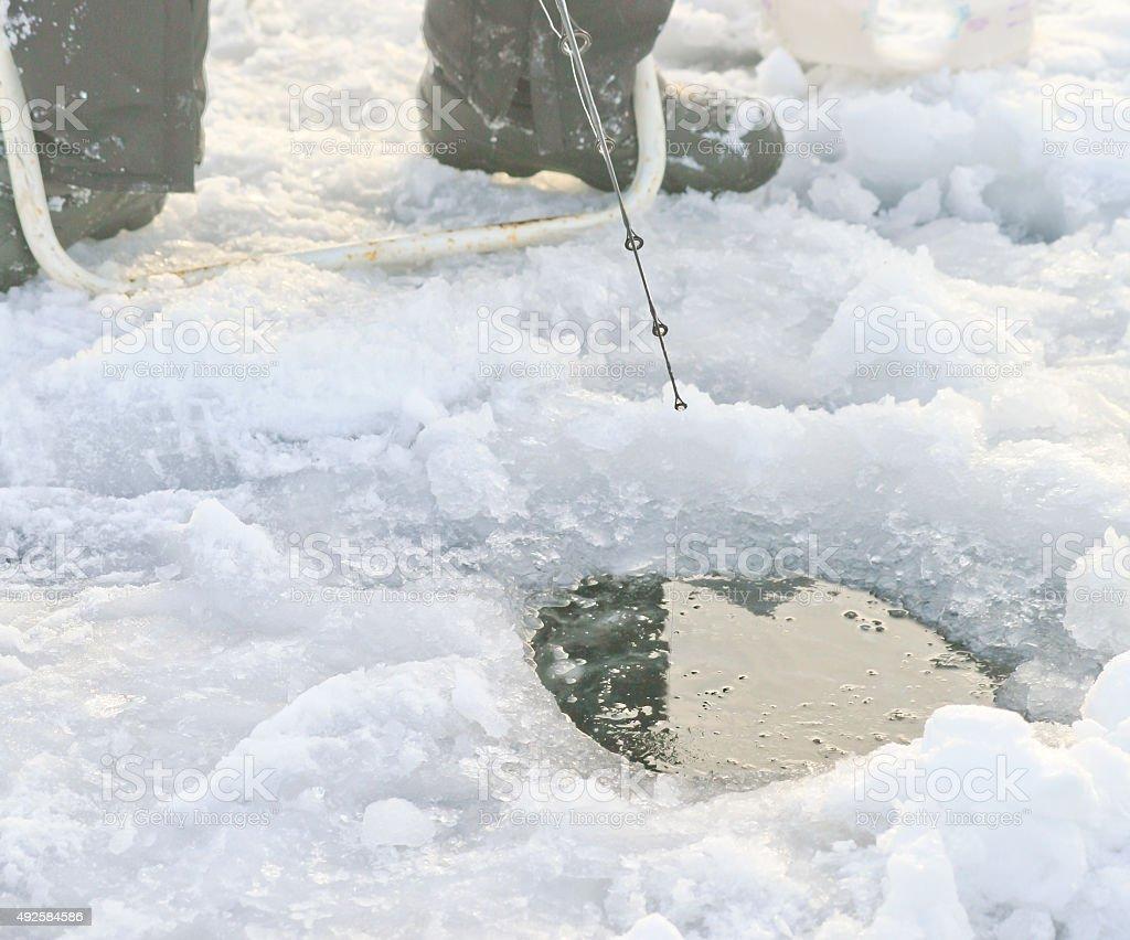 Ice Fishing in Lake Simcoe stock photo