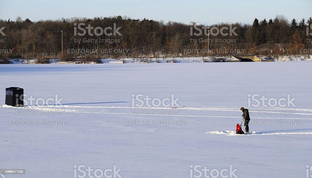 Ice Fishing in Michigan stock photo