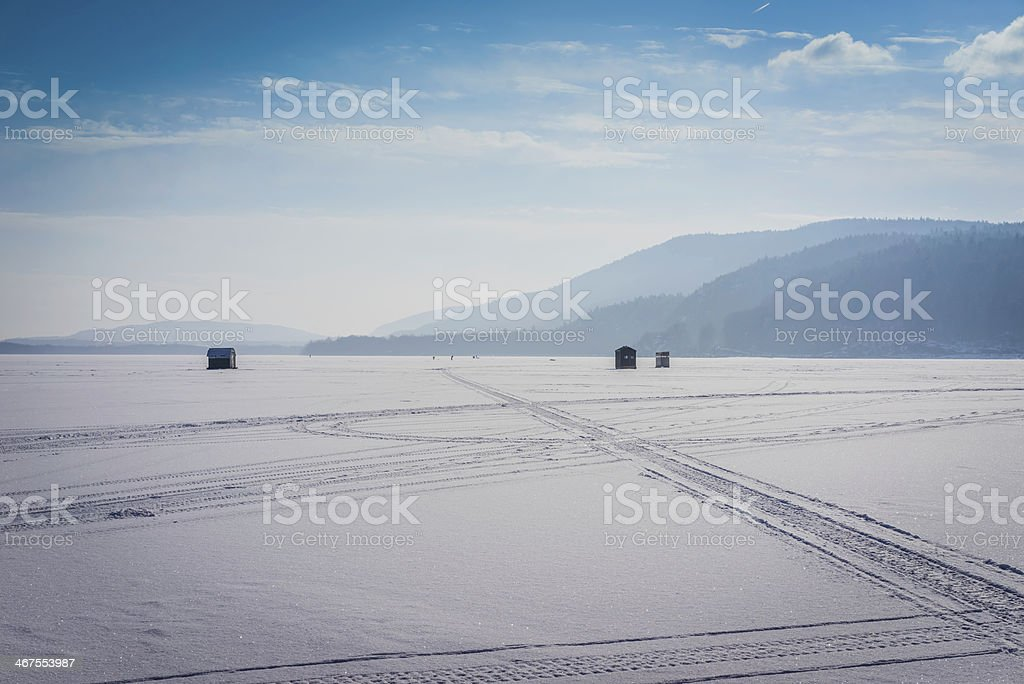 Ice Fishing on Lake Champlain, NY stock photo