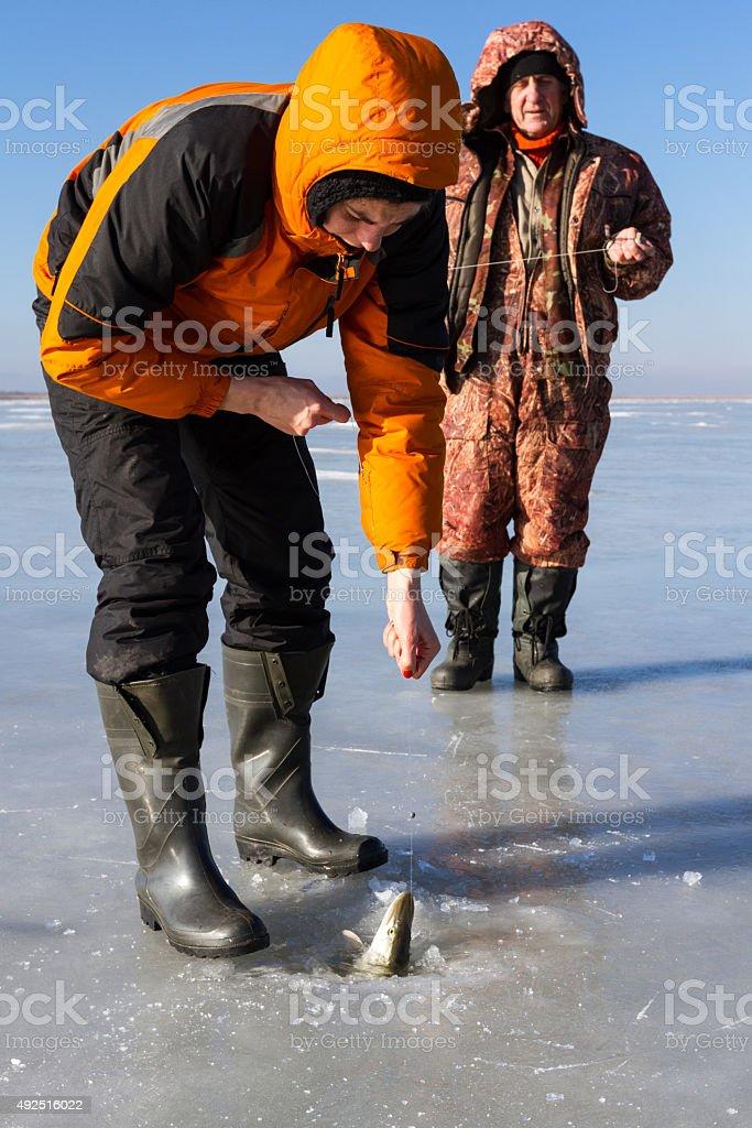 Ice Fishing. stock photo