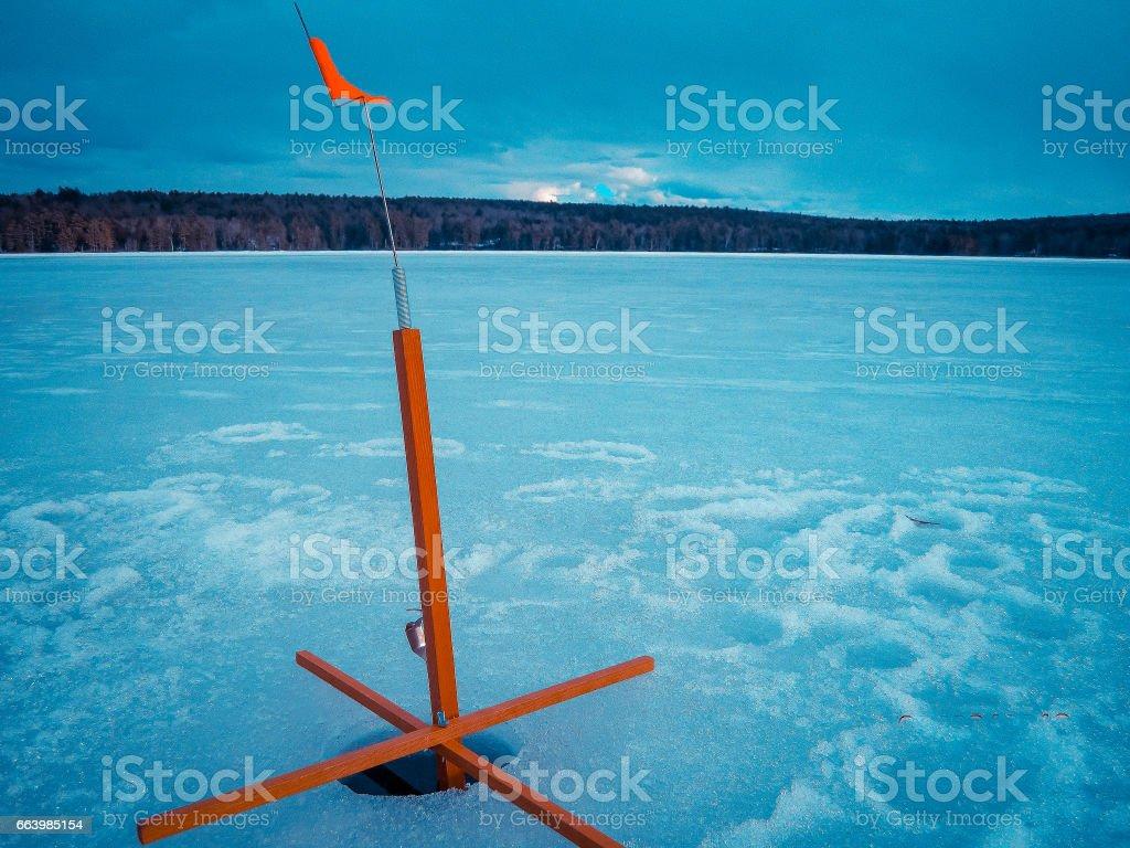 Ice fishing stock photo