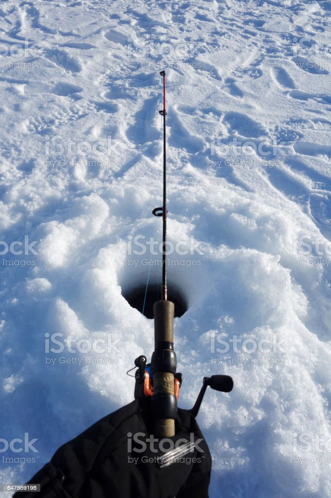 Ice Fishing Point of View stock photo