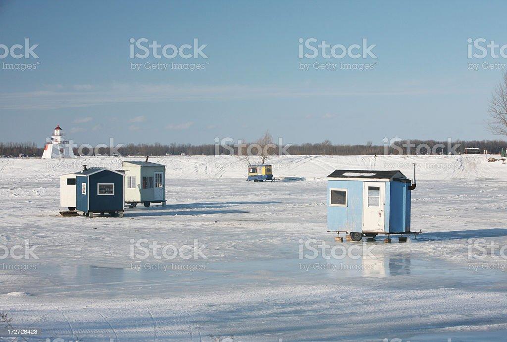 Ice fishing scenic royalty-free stock photo