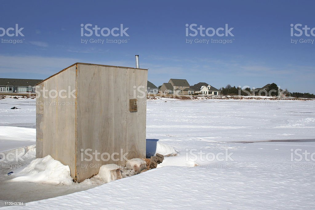Ice Fishing Shack royalty-free stock photo