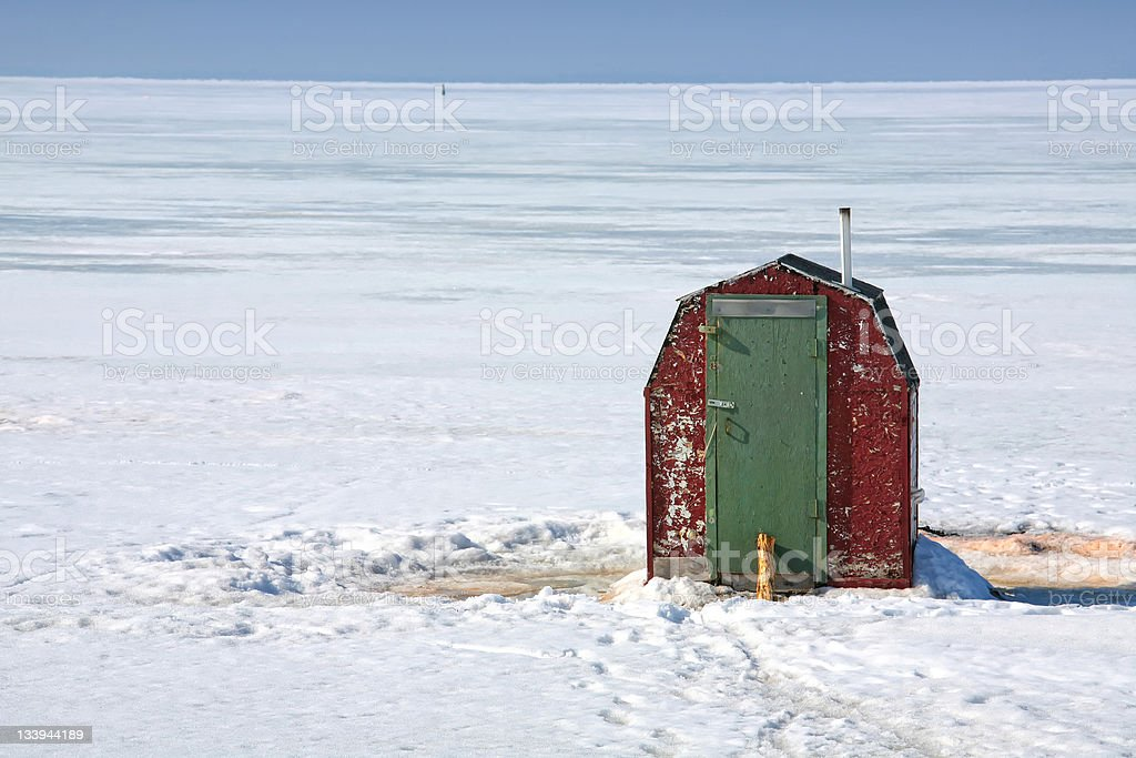 Ice Fishing Shack stock photo